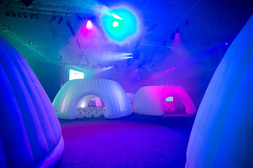 Inflatable pods for conference