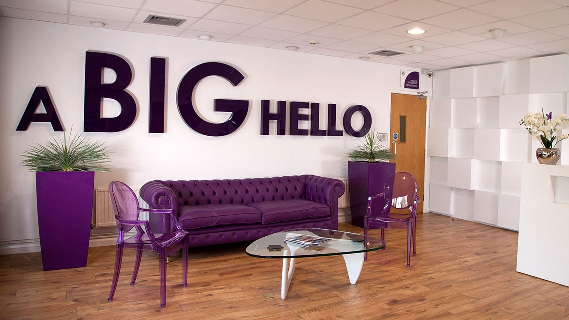 Big Hello Banner At Corporate Events office